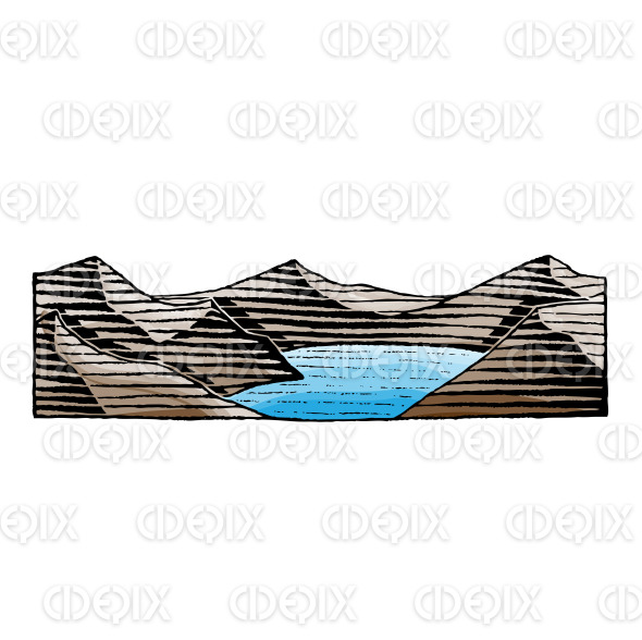 Ink and Watercolor Sketch of a Mountain Lake stock illustration