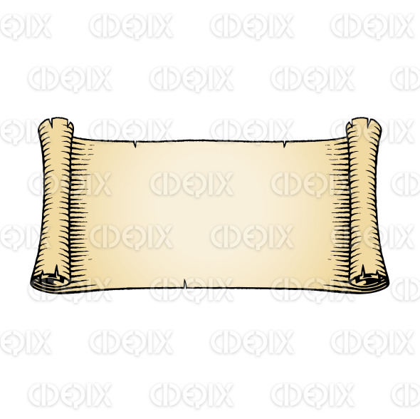 Ink Sketch of an Old Banner with Beige Fill stock illustration