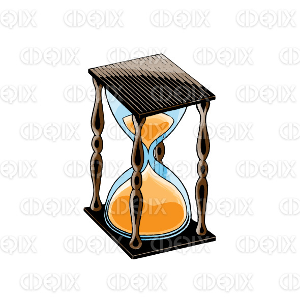 Ink and Watercolor Sketch of an Hourglass stock illustration