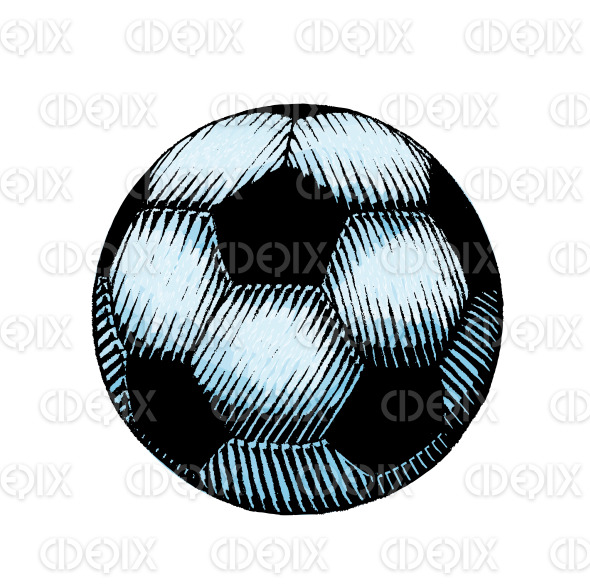 Ink and Watercolor Sketch of a Soccer Ball stock illustration