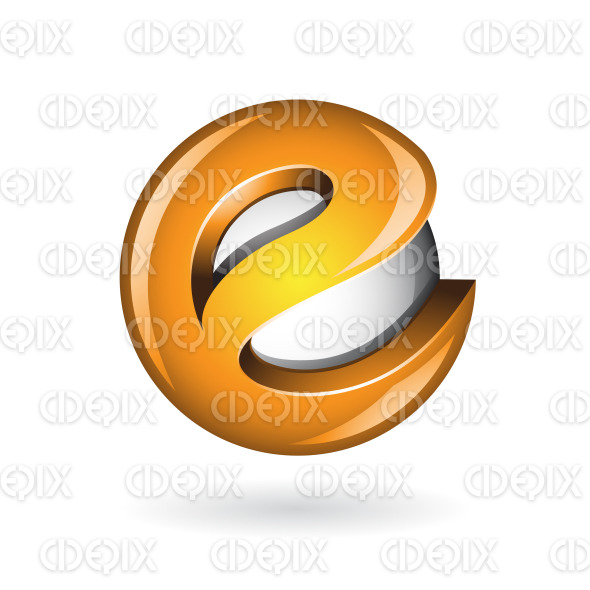 Round Glossy Letter E 3d Orange Logo Icon stock illustration