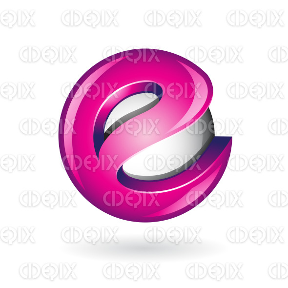 Round Glossy Letter E 3d Magenta Logo Icon stock illustration