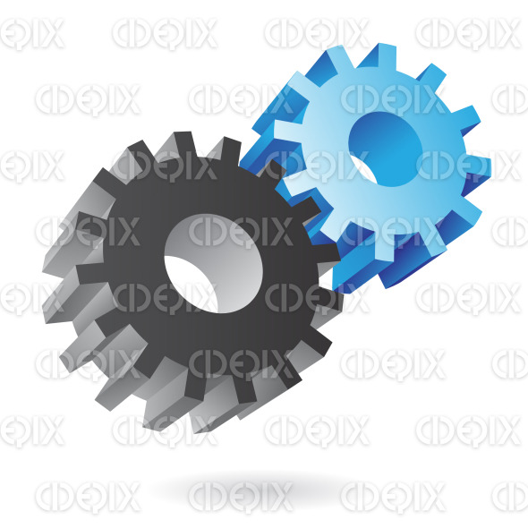 3d black and blue cogs icons stock illustration