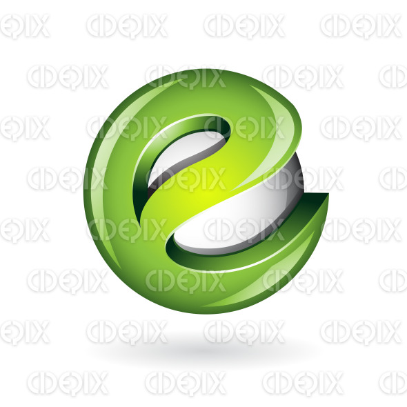 Round Glossy Letter E 3d Green Logo Icon stock illustration