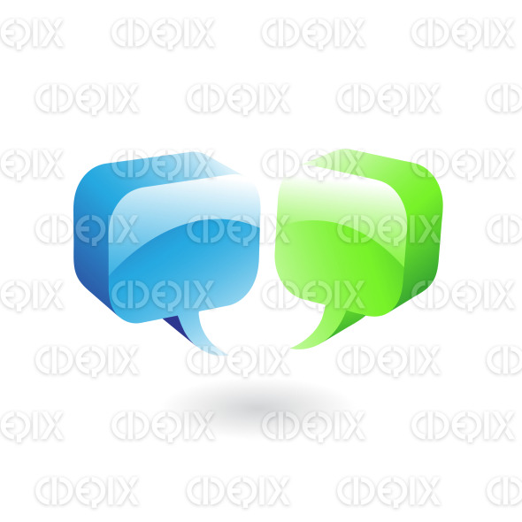 blue and green glossy speech bubbles stock illustration