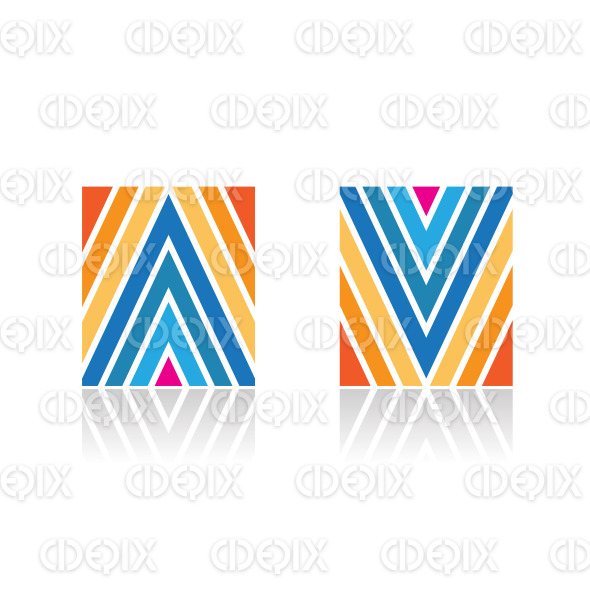 Abstract Symbol of Arrow Shaped A and V Line Icons stock illustration