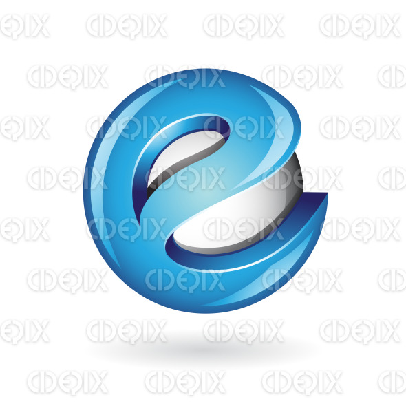 Round Glossy Letter E 3d Blue Logo Icon stock illustration