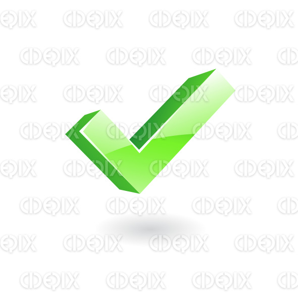 3d glossy green ok sign icon stock illustration