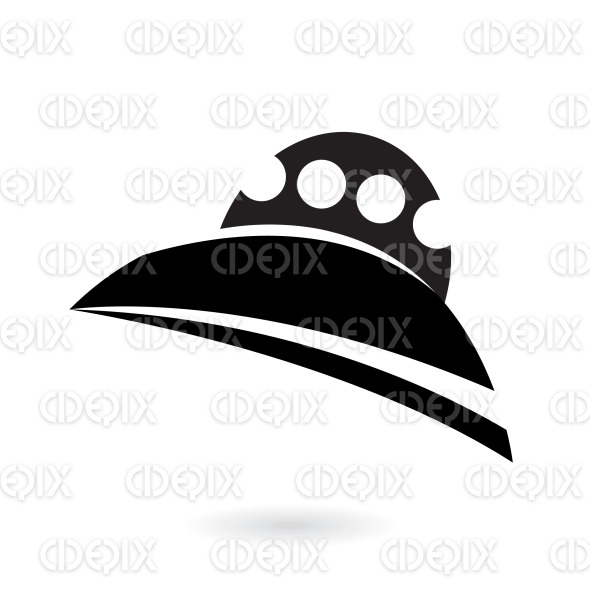 black alien ship icon stock illustration