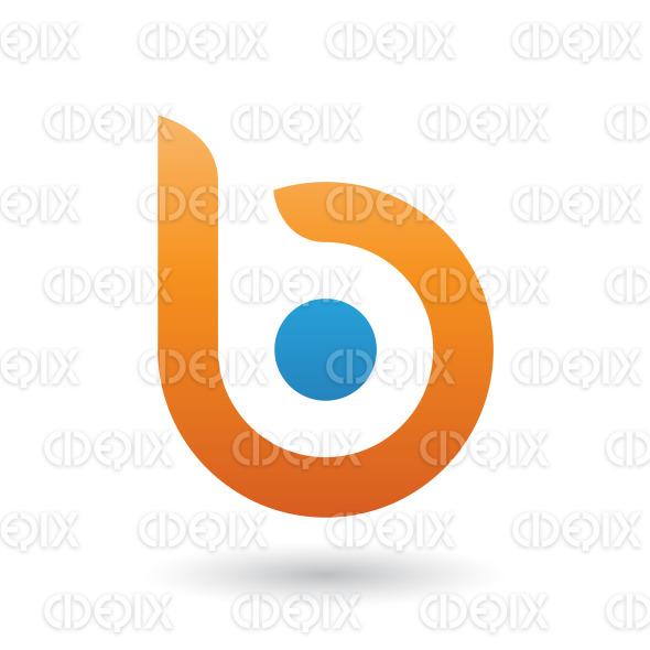 Orange Round Bold Icon For Letter B Vector Illustration