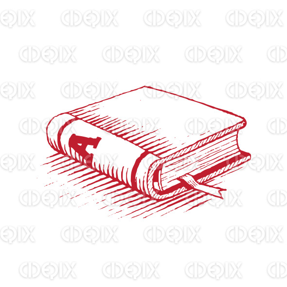 Ink Drawing of a Red Book Vector Illustration stock illustration