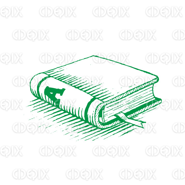 Ink Drawing of a Green Book Vector Illustration stock illustration