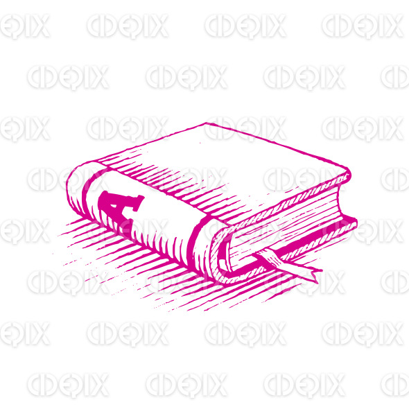 Ink Drawing of a Magenta Book Vector Illustration stock illustration