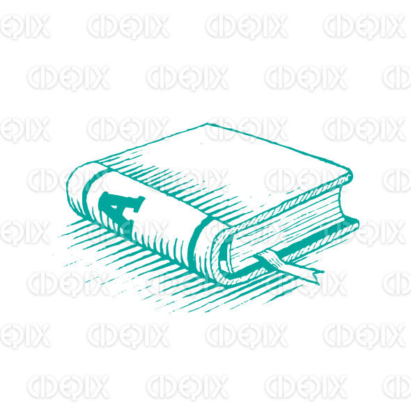 Ink Drawing of a Persian Green Book Vector Illustration stock illustration