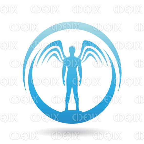 Man with Wings Blue Icon Vector Illustration stock illustration