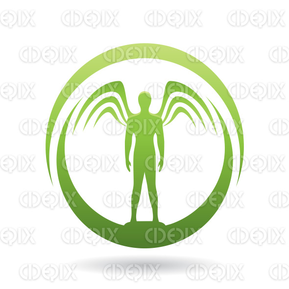 Man with Wings Green Icon Vector Illustration stock illustration