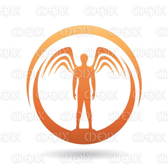 Man with Wings Orange Icon Vector Illustration stock illustration