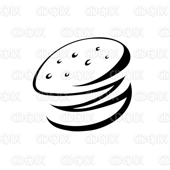black line art cartoon burger icon stock illustration