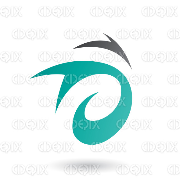 Persian Green Abstract Wind and Twister Shape Vector Illustration stock illustration