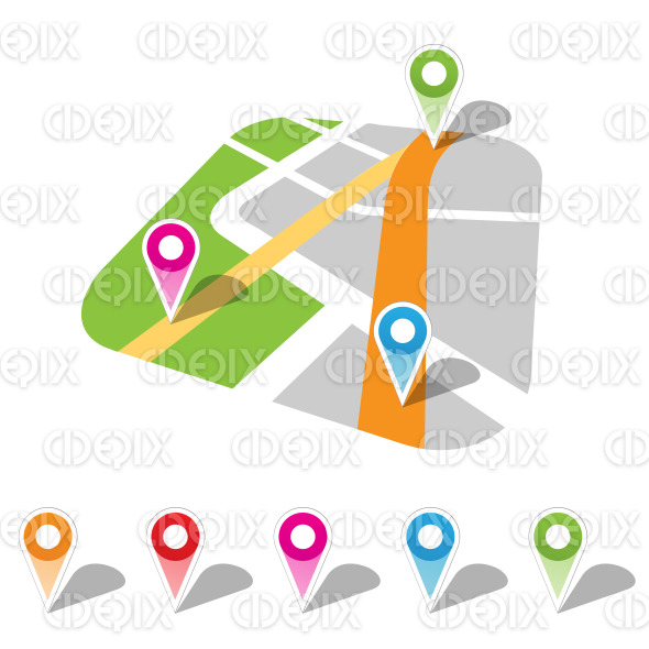 Colorful Map Markers Vector Illustration stock illustration