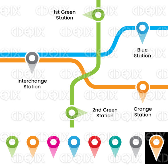 Colorful Metro Station Markers Vector Illustration stock illustration