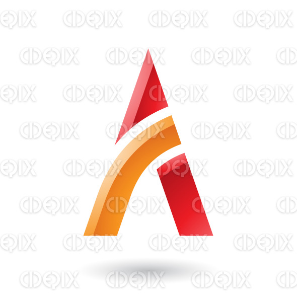 Red and Orange Letter A with a Bowed Stick Vector Illustration stock illustration