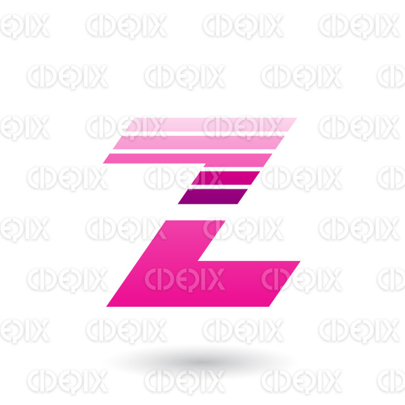 Magenta Sliced Letter Z with Thick Horizontal Stripes Vector Illustration stock illustration