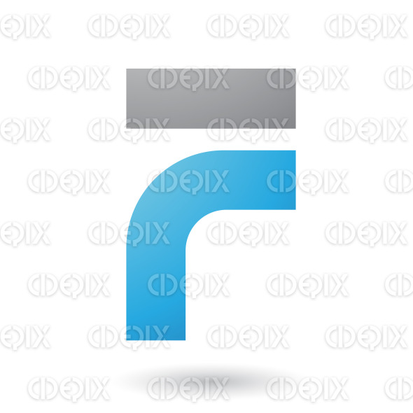 Blue Thick and Bowed Letter F Vector Illustration stock illustration