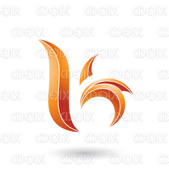 Orange Striped Leaf Shaped Letter B or K Vector Illustration stock illustration