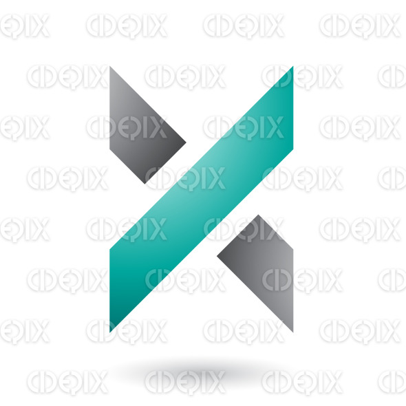 Grey and Green Thick Shaded Letter X Vector Illustration stock illustration