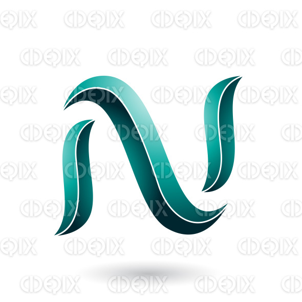 Persian Green Striped Snake Shaped Letter N Vector Illustration stock illustration