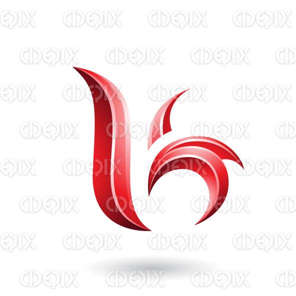 Red Glossy Leaf Shaped Letter B or K Vector Illustration stock illustration