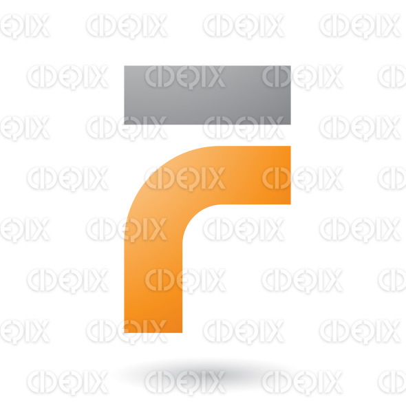 Orange Thick and Bowed Letter F Vector Illustration stock illustration