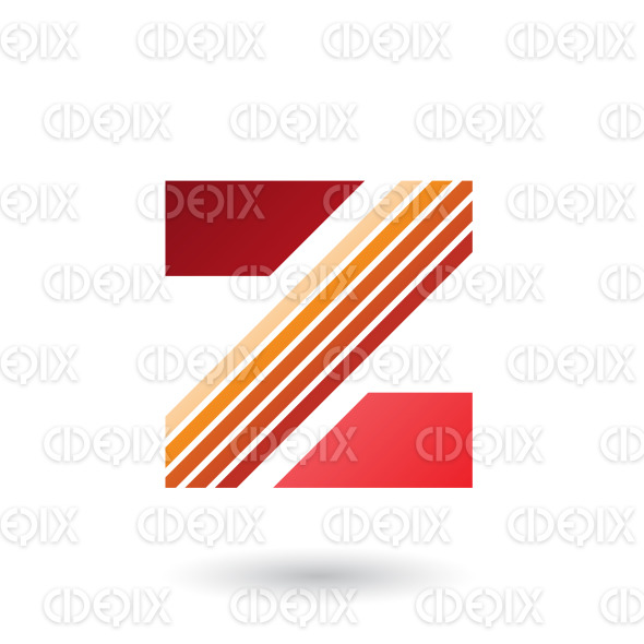 Red and Orange Letter Z with Thick Diagonal Stripes Vector Illustration stock illustration
