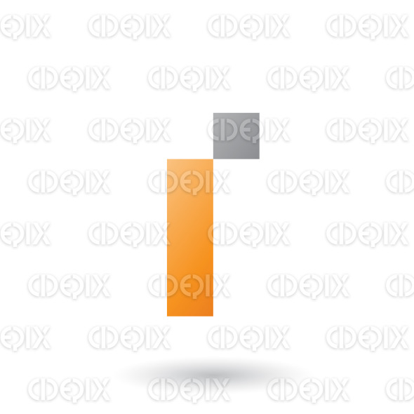 Orange Letter I with Rectangular Shapes Vector Illustration stock illustration