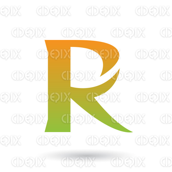 Orange and Green Gradient R with a Spiky Tail Vector Illustration stock illustration