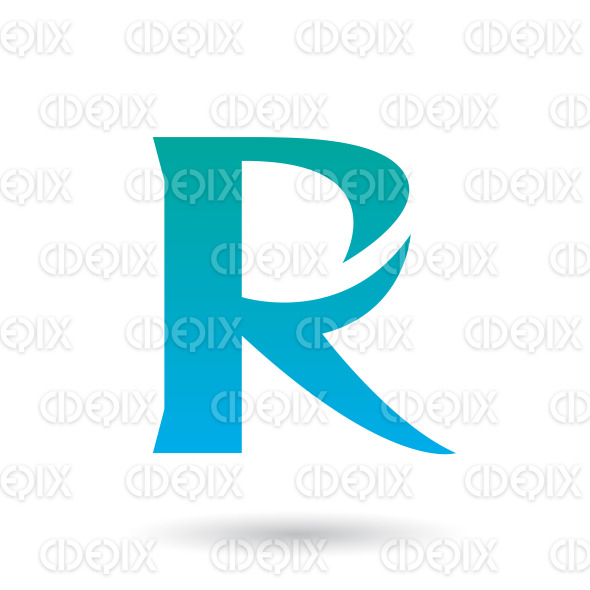Persian Green and Blue Gradient R with a Spiky Tail Vector Illustration stock illustration