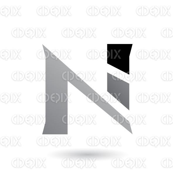 Grey Sliced Letter N Vector Illustration stock illustration