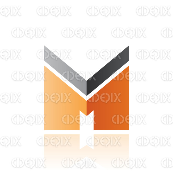 Black and Orange Letter M with a Thick Stripe and Reflection Vector Illustration stock illustration