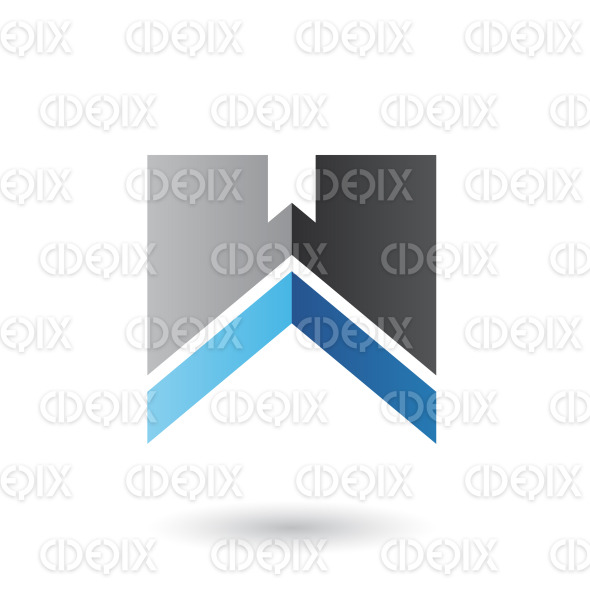 Black and Blue Letter W with a Thick Stripe Vector Illustration stock illustration