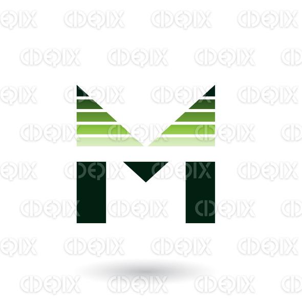 Green Spiky Letter M with Horizontal Stripes Vector Illustration stock illustration