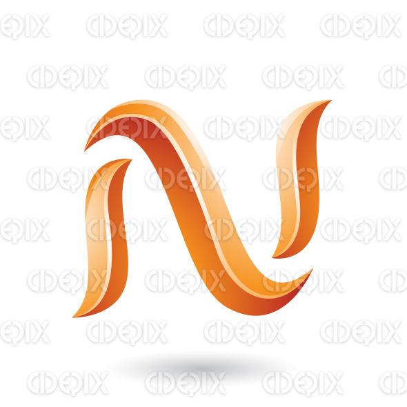 Orange Glossy Snake Shaped Letter N Vector Illustration stock illustration