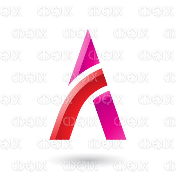Red and Magenta Letter A with a Bowed Stick Vector Illustration stock illustration