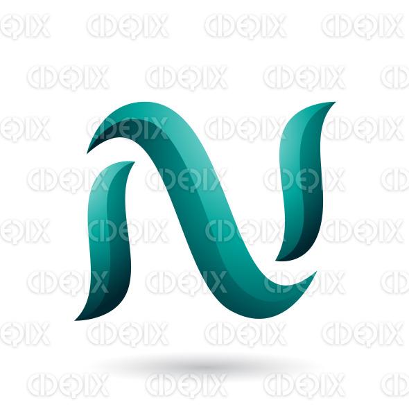 Persian Green Snake Shaped Letter N Vector Illustration stock illustration