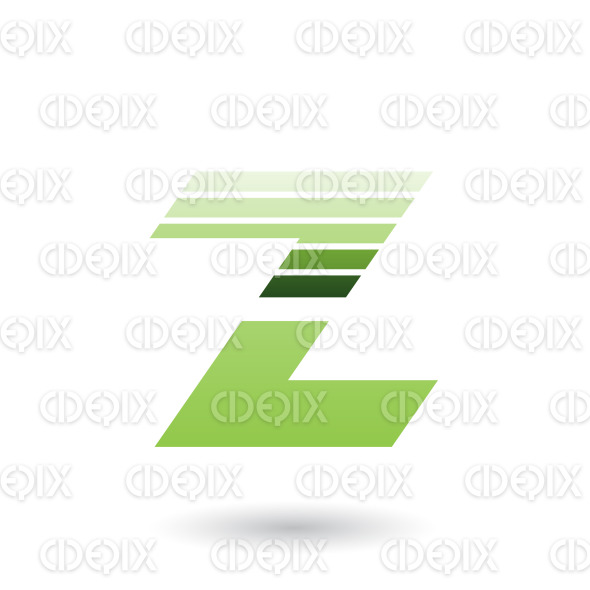 Green Sliced Letter Z with Thick Horizontal Stripes Vector Illustration stock illustration