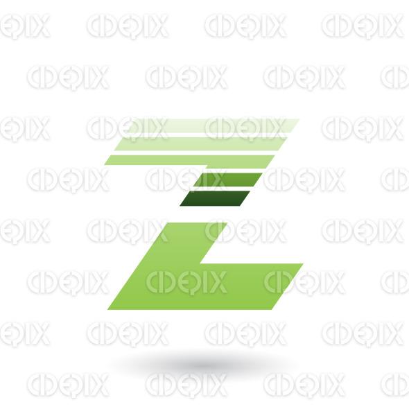 Green Sliced Letter Z with Thick Horizontal Stripes Vector Illustration stock illustration