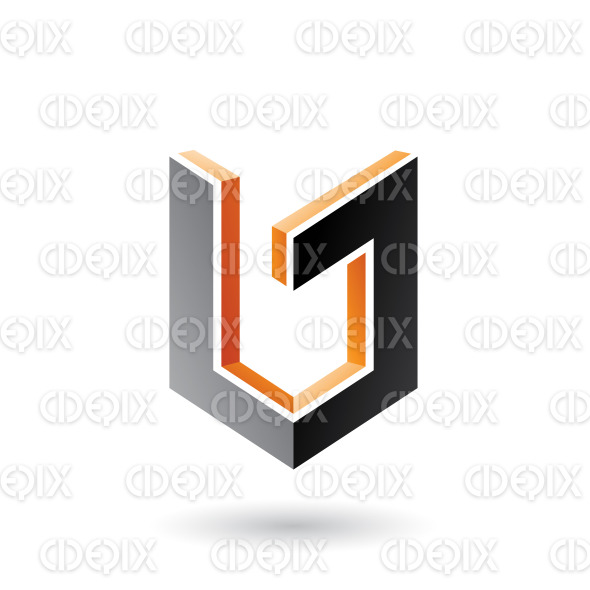 Orange and Black Shield Like 3d Shape Vector Illustration stock illustration