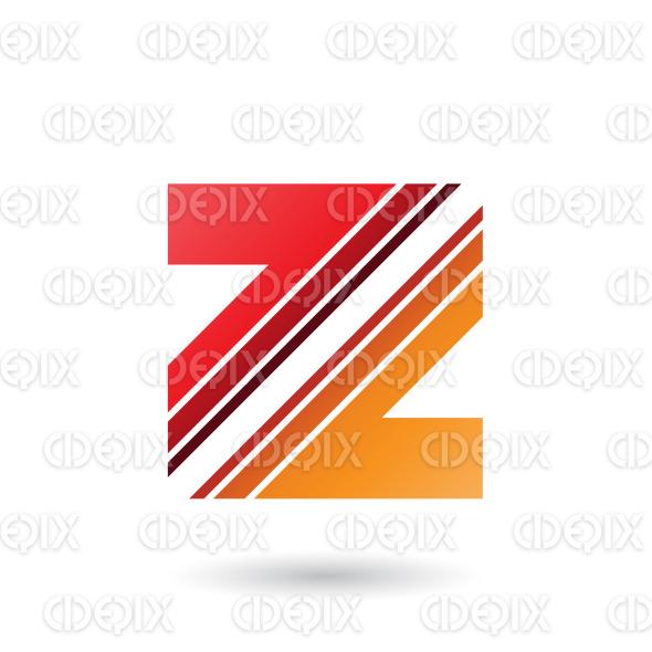 Red and Orange Letter Z with Diagonal Stripes Vector Illustration stock illustration