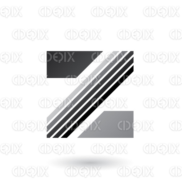 Grey Letter Z with Thick Diagonal Stripes Vector Illustration stock illustration