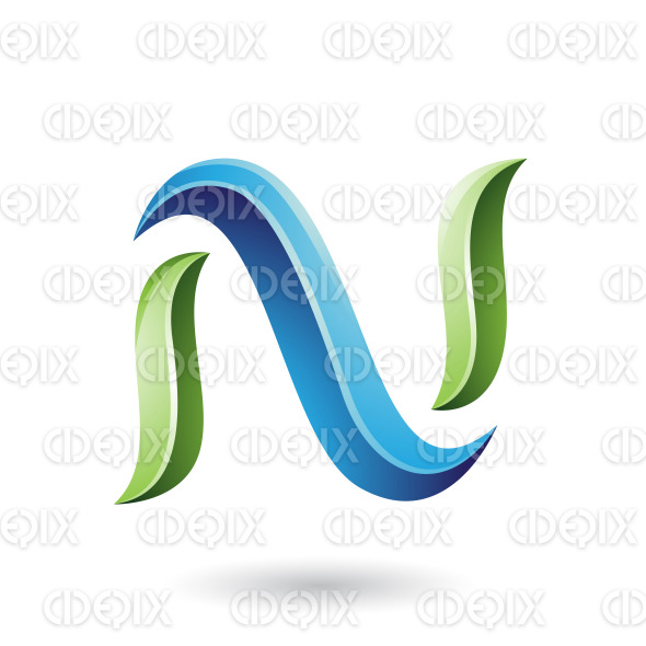 Green and Blue Glossy Snake Shaped Letter N Vector Illustration stock illustration